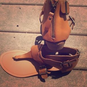 Dolce Vita Gladiator style brown leather sandals